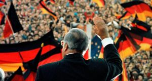 German reunification: Helmut Kohl at a rally in 1990 for the first free elections in East Germany. Photograph: Michael Urban/Reuters