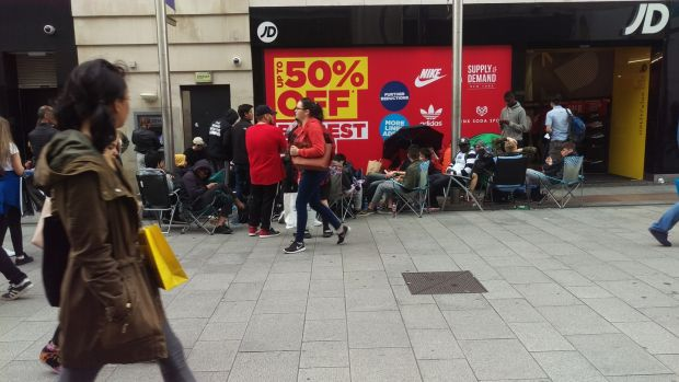 best service cbcc1 ed44a Dublin teens in three-day queue for €188 Kanye West trainers