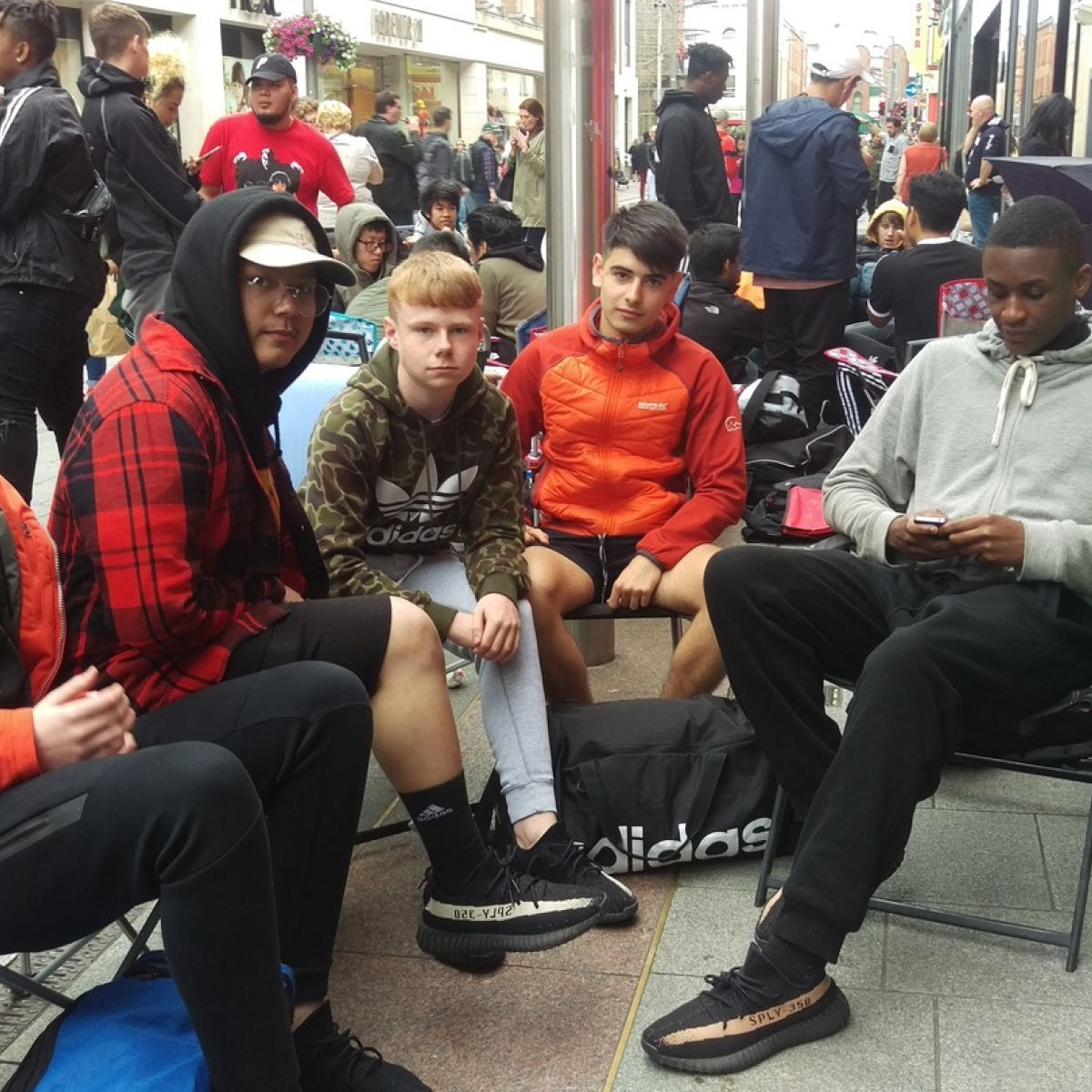 best service f00b7 23bfd Dublin teens in three-day queue for €188 Kanye West trainers