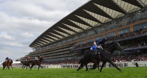 Ryan Moore on Caravaggio  wins the Commonwealth Cup on day four of Royal Ascot. Photograph:  Mike Hewitt/Getty Images