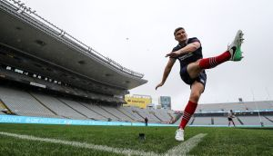 Lions outhalf Owen Farrell gets in some kicking practice at Eden Park  Stadium. Photograph: Dan Sheridan/Inpho