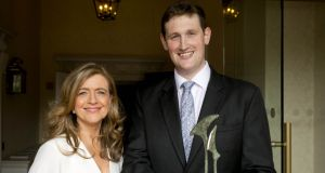 Teneo PSG's Cormac Coughlan, who was awarded  the Young Communications Professional of the Year 2017 title in Dublin on Friday, with Rhona Blake, chairwoman of the PRCA