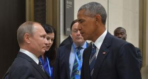 "Superpowers: Vladimir Putin and Barack Obama at the G20 summit in September 2016. The US president reportedly told his Russian counterpart he had ""better stop or else"". Photograph: Alexei Druzhinin/AFP/Getty"