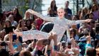 Katy Perry: the singer performs on the Pyramid Stage at 6pm on Saturday. Photograph: Valerie Macon/AFP/Getty