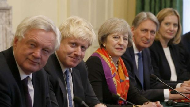 Conservative contenders: David Davis, Boris Johnson, Philip Hammond and Amber Rudd flank the British prime minister, Theresa May. Photograph: Peter Nicholls/AFP/Getty