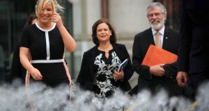 Sinn Féin leaders   Michelle O'Neill,  Mary Lou McDonald and  Gerry Adams all spoke at a Belfast conference, An Agreed Future, at the Waterfront Hall. File photograph: Gareth Chaney/Collins
