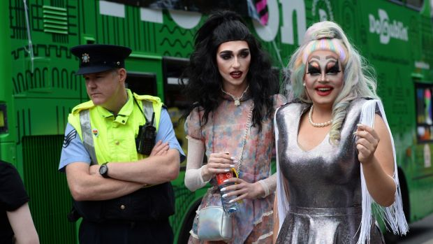 Roots from Finglas and Miss Taken from Ballyfermort at Dublin Pride. Photograph: Dara Mac Dónaill/The Irish Times