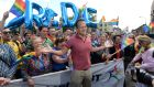 Taoiseach Leo Varadkar gets into the spirit of things at Dublin (P)ride! Photograph: Dara Mac Donaill/The Irish Times