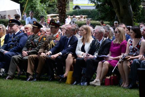 Guests at  the birthplace and museum dedicated to  Lance Corporal Francis Ledwidge  during the State commemoration ceremony at Slane, Co Meath, to mark the centenary of the poet's death, during the first World War. Photograph: Cyril Byrne/The Irish Times