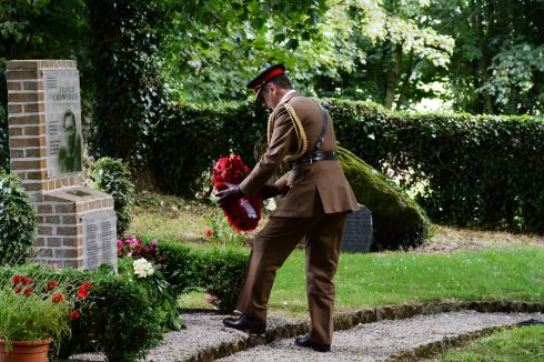 Col Max Walker (UK defence attache to Ireland) laying a wreath  during the  commemoration at  the birthplace and museum to  Lance Corporal Francis Ledwidge. Photograph: Cyril Byrne/The Irish Times