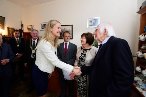 Helen McEntee, Minister for European Affairs, meeting  Frank Ledwidge (nephew of the late Francis Ledwidge) at the commemoration ceremony. Photograph: Cyril Byrne/The Irish Times
