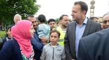 Leo Varadkar with Huda Safaa Al-deen, her husband Zaid Mohammed and daughter Zainab, while visiting the  Islamic Culture Centre. Photograph: Dara Mac Dónaill/The Irish Times