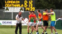 Carlow celebrate after the game in Ruislip. Photograph: Inpho