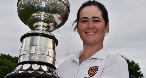 Paula Grant (Lisburn) with the Irish Women's Close trophy following her victory at Mullingar GC.