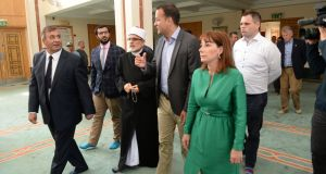 Taoiseach Leo Varadkar and Josepha Madigan TD inside the mosque with Imam Hussein Halawa and Shaheen Ahmed. Photograph: Dara Mac Donaill