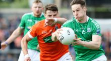 Armagh's Niall Grimley and Tomas Corrigan of Fermanagh in action: Photograph: Philip Magowan/Presseye/Inpho