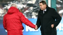 Lions coach Warren Gatland and New Zealand All Blacks coach Steve Hansen shake hands before the start of the first Test in Auckland. Photo: Michael Bradley/Getty Images