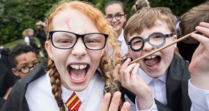 Children dressed as Harry Potter in Bolton, UK on Friday, part of an attempt to break the world record for the largest gathering of people dressed as the wizard. Photograph: Danny Lawson/PA Wire
