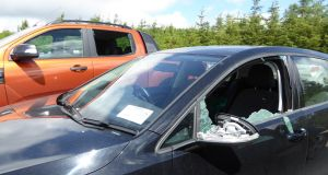 Some of the cars that were broken into at a car park in Co Wicklow . Photograph: Helen Lawless