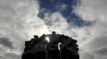 The forwards  huddle during the Captain's Run ahead of the Lions' game against  the Wellington Hurricanes on Tuesday. Photograph:  Dan Sheridan/Inpho