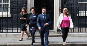 Colum Eastwood and  members of the SDLP after talks at  Downing Street. Photograph: Gareth Fuller/PA Wire