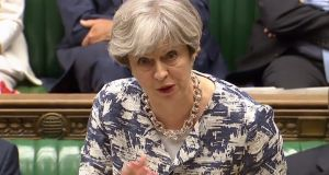 British prime minister Theresa May said on Monday she wanted to end the anxiety of EU nationals fearful of their future after Brexit. But she was jeered by critics in the House of Commons.  Photograph: AFP/Getty Images