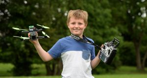 "Dan Clohessy, from Malahide, Co Dublin: ""For a 10-year-old, grasping what he is grasping is incredible,"" said Damien Doyle of iFly, the ground school where Dan took sat his exam.   Photograph: Dara Mac Dónaill"