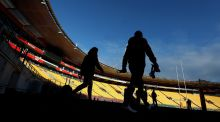 British and Irish Lions' Leigh Halfpenny and Greig Laidlaw during the kickers session at the Westpac Stadium, Wellington. Photograph: David Davies/PA Wire