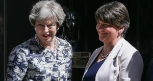 British prime minister Theresa May and DUP leader Arlene Foster at Downing Street on Monday. Photograph: AFP
