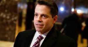 Anthony Scaramucci, a senior adviser to President-elect Donald Trump, talks to reporters in the lobby of Trump Tower in New York. Photograph: Evan Vucci/AP/File photo