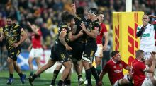 Hurricanes' Vaea Fifita celebrates scoring the equalising try against the Lions at the Westpac Stadium, Wellington. Photo: David Davies/PA Wire