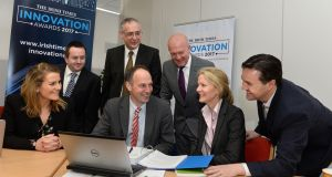 Judging 'The Irish Times' Innovation Awards 2017 were, front row from left: Bebhinn Behan, KPMG; Eric Donald, Teagasc; Dr Marion Boland, Science Foundation Ireland; Michael McAleer, The Irish Times. Back row from left: Dr Ciaran Heavey, University College Dublin; Gearóid Mooney, Enterprise Ireland; and Robert Love, AbbVie.Photograph: Dara Mac Dónaill