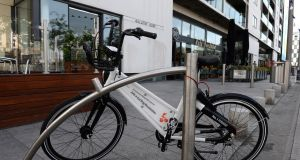 A Bleeper Bike parked at the Grand Canal dock area in Dublin early last week. Photograph: Dara Mac Dónaill
