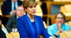 "First minister Nicola Sturgeon insisted that the Scottish government ""remains committed strongly to the principle of giving Scotland a choice at the end of this process"". Photograph: Andrew Cowan/PA Wire"