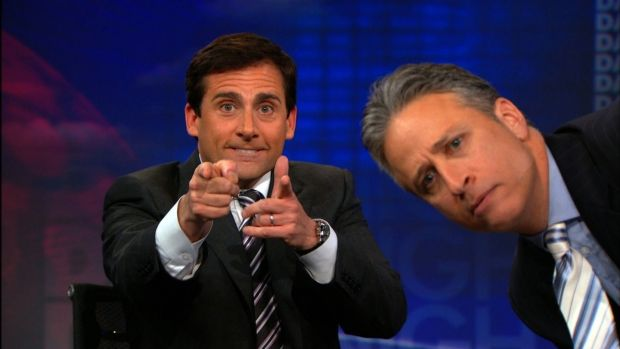 Steve Carell with Jon Stewart on The Daily Show
