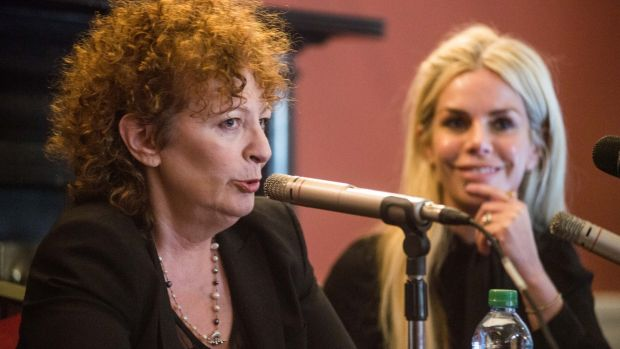 Nan Goldin in conversation with curator, Rachael Thomas, at the launch of the exhibition Weekend Plans in Imma, Dublin. Photograph: Ruth Medjber