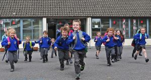 SCHOOLS OUT FOR SUMMER: Pupils from the Junior Infants class in Crubany NS, Cavan finish up for the summer holidays.  Photograph: Lorraine Teevan