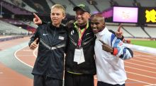 Mo Farah celebrates  with  US runner Galen Rupp (left) and coach Alberto Salazar. Photograph: Martin Rickett/PA Wire.