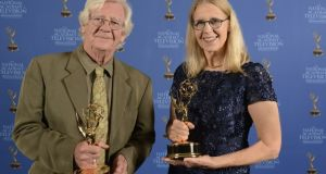 Profs Liam O'Brien and Rebecca Abbott, whose documentary on the Great Famine won a Boston/New England Emmy at the weekend. Photograph: Eric Antoniou