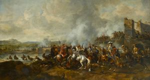 The stirrups can be seen in this painting, 'The Battle of the Boyne', by Dutch artist Jan van Huchtenburg
