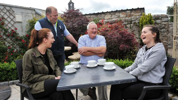 Locals Sinead Corbett, Peadar Collins, Tom Walsh and Sarah Lynch in the Thatch and Thyme cafe in Kildorrery, Co Cork. Photograph: Daragh Mc Sweeney/Provision
