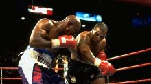 Mike Tyson and Evander Holyfield during their second heavyweight title fight at the MGM Grand on June 28th, 1997. Photograph: John Iacono/Sports Illustrated/Getty