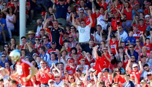 Joyous Cork fans celebrate a score during the county's Munster senior hurling semi-final victory over Waterford at Semple Stadium. Photograph: Oisín Keniry/Inpho
