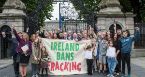The anti-fracking campaign group in jubilant mood after a Bill was passed at the Dáil banning the practice in the State. Photograph: Brenda Fitzsimons/The Irish Times