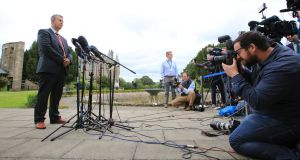 DUP negotiator Edwin Poots  speaks to members of the media in the grounds of Stormont Castle, Belfast, Northern Ireland,  June 28th, 2017. Photograph: Paul McErlane/EPA