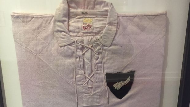 First white All Black jersey worn in the 1930 tour. It caused controversy at the time and is in a glass case in Lansdowne RFC where Michael Dunne played.