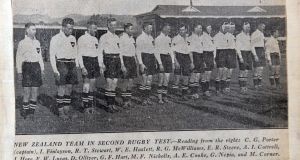 The New Zealand team, sporting white jerseys, that  played the British & Irish Lions in  1930. Photograph: Cyril Byrne