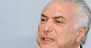 "Brazilian president Michel Temer described the corruption charge made against him as ""a fiction"" and accused prosecutors of wanting to bring the country and congress to a halt. Photograph:  Evaristo Sa/AFP/Getty Images"