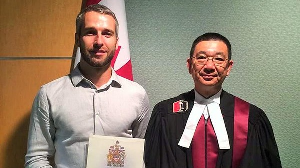 "Kerry man Ruairi Spillane receiving his citizenship in Vancouver in 2015: ""Canada has a long, proud history as a peaceful, prosperous country, and becoming a Canadian can be an immensely proud moment."""