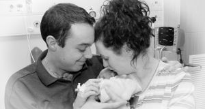 Amy Walsh with her husband, Yousef, and their daughter Rose after she was stillborn at Liverpool Women's Hospital following diagnosis of a fatal foetal abnormality. Amy Walsh gave evidence to the Citizen's Assembly.